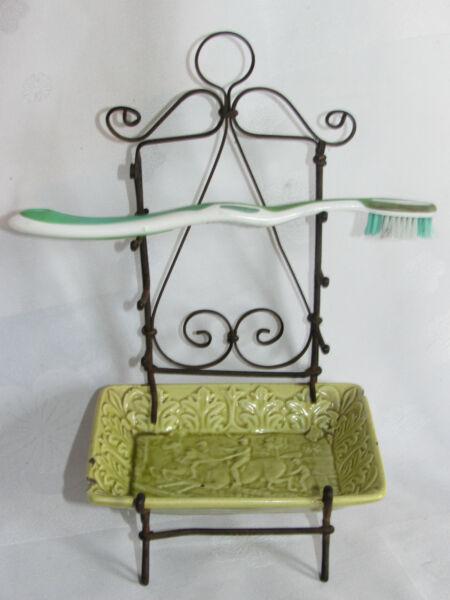 09c6 Antico Portasapone E Spazzole Denti Decorazioni Equitazione Deco Bagno Comodo E Facile Da Indossare