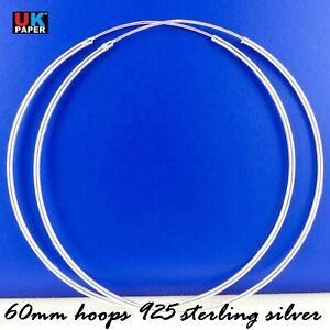 925-Sterling-Silver-60mm-Large-Hoop-Sleeper-Earrings-Clip-Solid-Rings-Pairs-Big