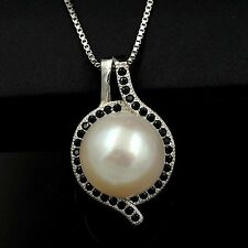 White Freshwater Pearl Black CZ 925 Sterling Silver Pendant Chain Necklace 03520