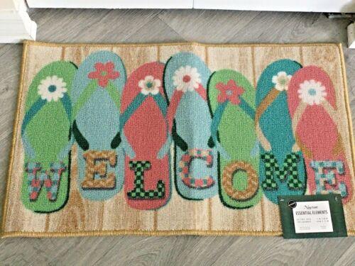 "Coastal accent rug flip flop welcome design 17/"" x 28/"""