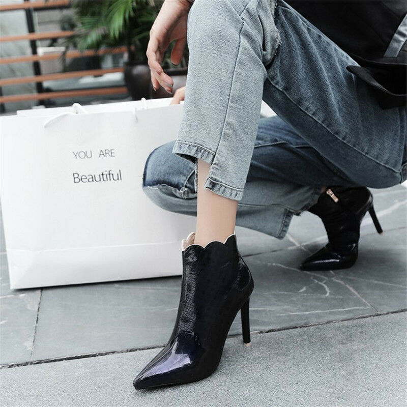 US4.5-13 Women Ankle Boots Stilettos Pointed Toe High Heels Patent Leather shoes