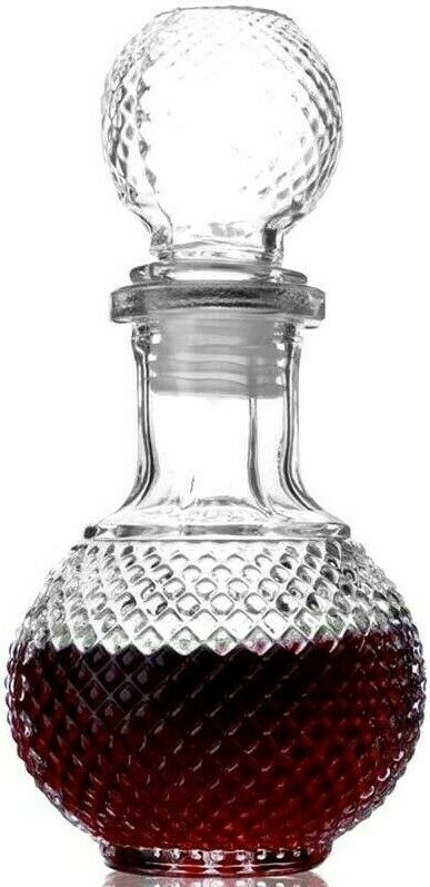 Glass Decanter with Airtight Geometric Stopper Brandy 63.5 oz//700ml Italian Lead-Free Glass Juice Whiskey Decanter for Wine Bourbon Water Liquor Mouthwash