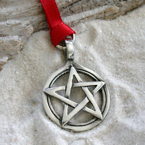 PENTAGRAM PAGAN WICCA Pewter Christmas ORNAMENT Holiday | eBay