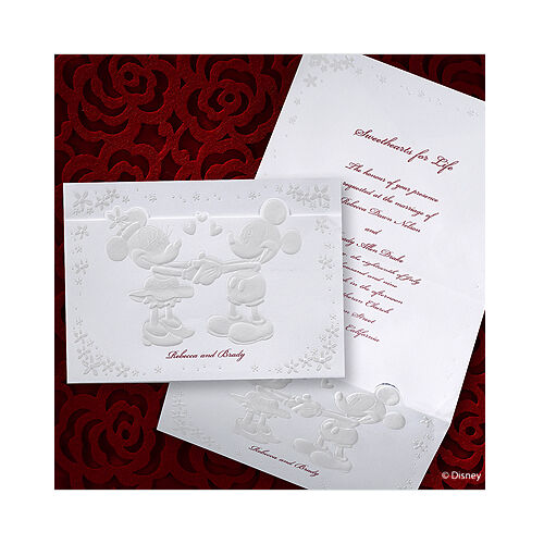 100 Disney Mickey and Minnie Mouse Embossed Wedding Invitations, RSVP Set!