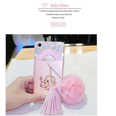 360° Ring Stand Bling Glitter Diamond DIY Rabbit Fur Hair Ball Plush Tassel Case