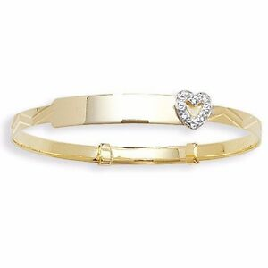 9ct Gold Baby Id Bangle Personalised Christening Heart Expandable