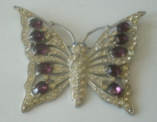 Vintage Amethyst Purple Rhinestone Large Butterfly