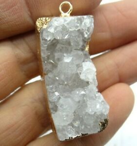 37-15MM-Natural-White-crystal-pendant-Gemstone-Making-jewelry-necklace-C286