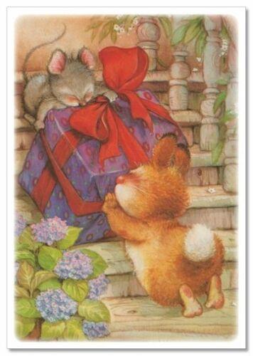 Lisi MARTIN~  BUNNY Rabbir /& Mouse Mice drag GIFT New Modern KIDS postcard