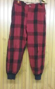 304795ec5c64d Vintage Red Black Buffalo Plaid Wool Hunting Pants Ribbed Cuffs Size ...