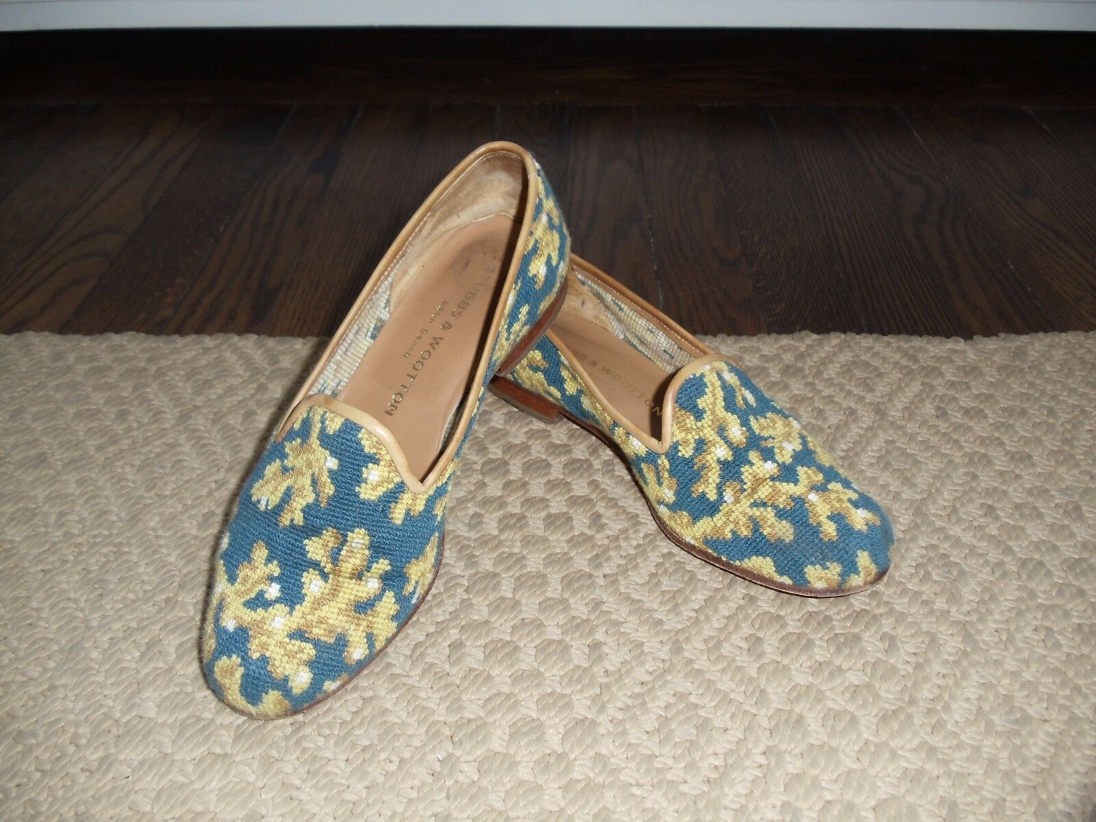 Blau & Gold Coral Design STUBBS & WOOTTON Needlepoint Flat Schuhes   Sz 6M