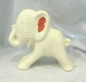 Shawnee Elephant Planter Vintage Ceramic White & Red MCM Pottery