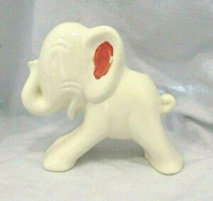 Shawnee Elephant Planter Vintage Ceramic White & Red MCM Pottery