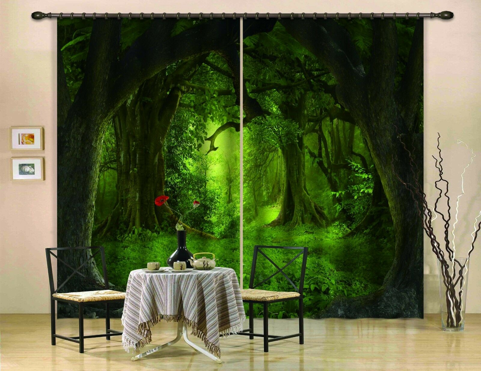 Vista de bosque 3D 3 Cortinas de impresión de cortina de foto Blockout Tela Cortinas Ventana CA