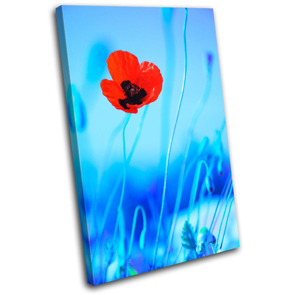 Poppies Flowers Floral SINGLE TOILE murale ART Photo Print