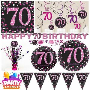 Image Is Loading Pink Sparkling Celebration 70th Birthday Party Tableware Decorations
