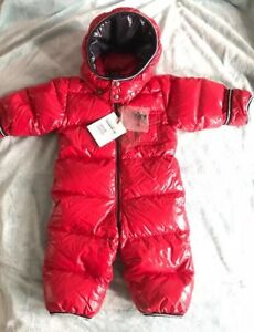 38332feba MONCLER BABY BOYS RED DOWN PUFFER SNOWSUIT SIZE 9-12 MONTHS