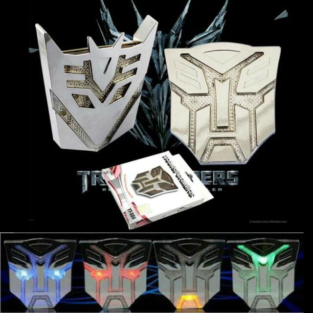 Car 3D Solar LED Flash Indicator Light Transformers Emblem Badge Decal Sticker