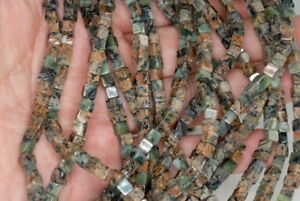 4MM IMPERIAL JASPER GEMSTONE GREEN PERFECT SQUARE CUBE 4MM LOOSE BEADS 7.5/""