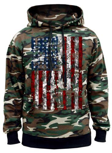 Men/'s Huge USA Flag Camo Hoodie Sweater American Pride Symbol Military Native US
