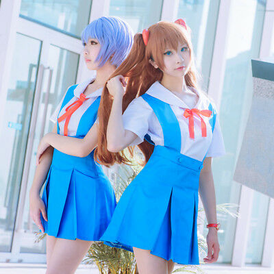 Evangelion Cosplay Costume Ayanami Rei//Asuka School Uniform Any Size