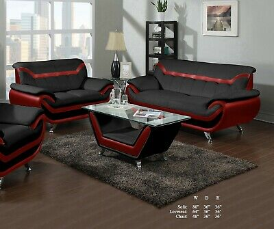 Beautiful Living Room 2pc Sofa Loveseat Red Black Bonded Leather Plush  Couch | eBay