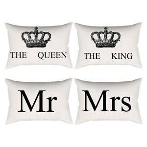 Crown Printing Pillow Case Sofa Waist Throw Rectangle Cushion Cover Home Decor