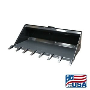 Details about New 84 INCH HD SKID STEER LOW PROFILE DIRT BUCKET WITH  TEETH/KUBOTA/BOBCAT/ETC