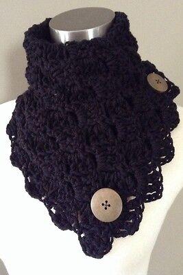 New Handmade Crochet Button Neck Warmer Black Solid Loop Infinity Scarf