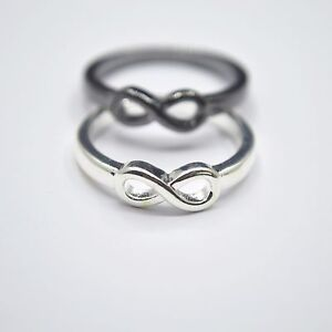 Shiny-925-Sterling-Silver-PL-Black-INFINITY-Friendship-Love-Wish-Band-Ring-Gift