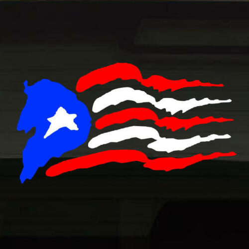 """Puerto Rico Flag LARGE Rough Jagged Style War-Torn Vinyl Decal Sticker 20/""""x11/"""""""