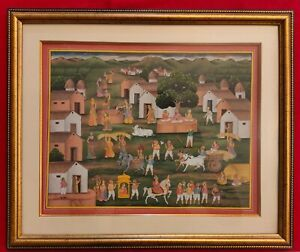 Hand-Painted-Indian-Village-Scene-Miniature-Painting-Synthetic-Ivory-Natural-Col