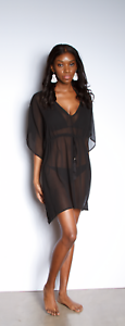 Women/'s and Plus HANNAH SHEER SOLID BEACH COVER UP