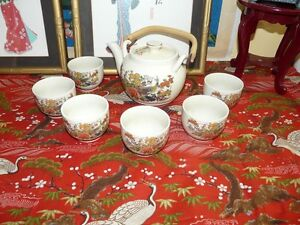 Lovely-Satsuma-Style-Japanese-Tea-Set-w-6-cups-in-fabulous-Condition-Hallmarked