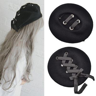 Women Wool Berets Harajuku Black Lacing Strap Hats Bowknot Caps Warm Winter