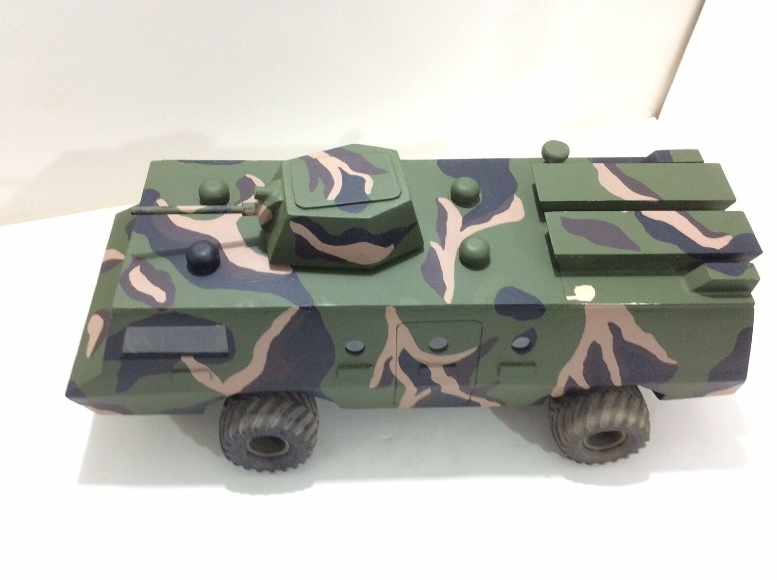 Vintage Hand Carved & Painted Balsa Wood Military Transport Vehicle