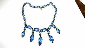Art-Deco-Blue-Glass-Dangles-Vintage-Necklace-15-inch