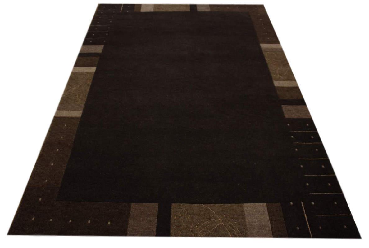 Teppich Premium Nepal 6 Grün 100% Wolle mit Seide schoko braun meliert