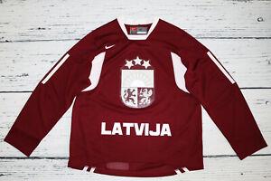 NIKE-LATVIJA-LATVIA-Men-039-s-Jersey-Shirt-Trikot-Eishockey-IIHF-size-M