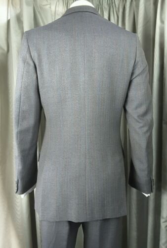 60s C38 Three Button Herringbone Vintage Suit W32 Gieves L29