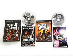 Guitar Hero 2 and III 3 Legends of Rock PlayStation 2 PS2 Complete Bundle Lot
