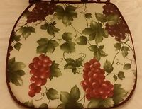Set Of 4 Kitchen Chair Pads Cushions 15 X 15 With Strings, Grapes