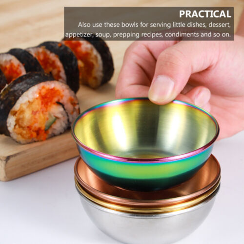 2pcs Stainless Steel Appetizer Serving Tray Sauce Dish Miniature Spice Dips Bowl