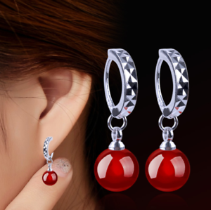 5c2eeef57a862 Details about Womens Round Red Ball Huggie Hoop Earrings Fashion 925  Sterling Silver Plated UK