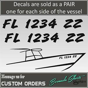 "Vessel PAIR Boat Registration Number 3/"" X 18/"" Lettering Decals Vinyl"