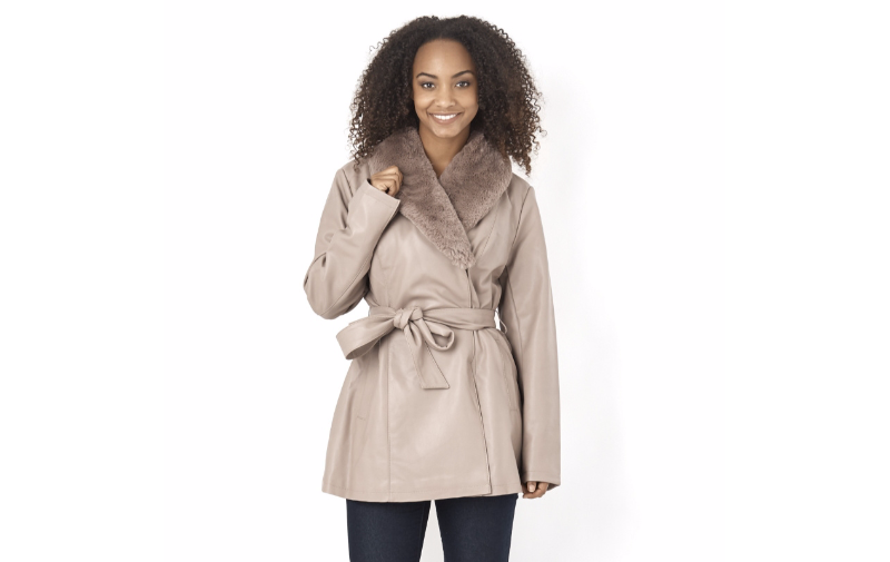 Dennis Basso Faux Faux Faux Leather Removable Shawl Collar Coat Taupe Größe XXL LF076 LL 04 | Flagship-Store