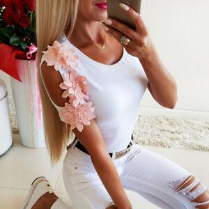 Sexy-Blusa-Top-de-hombro-frio-al-cuerpo-Cenido-con-Flores-Patchwork-Casual-Camiseta