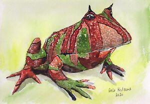 Amazonian-Horned-Frog-original-watercolor-animal-painting-reptile-garden-art