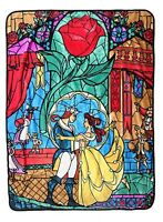 Disney Beauty & The Beast Stained Glass Super Plush 45x60 Throw Blanket
