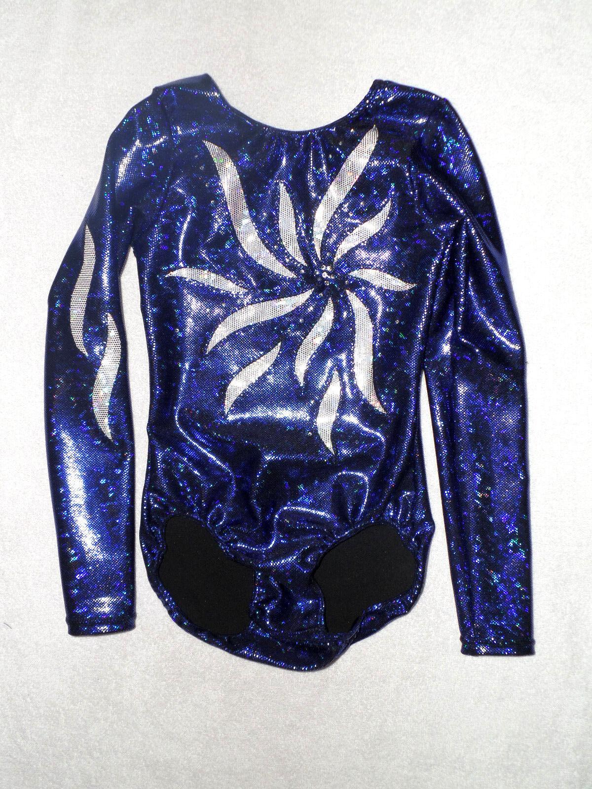 Leotard Gymnastics Suit 'KIM LA holoblau  NEW Größe 122 to 164